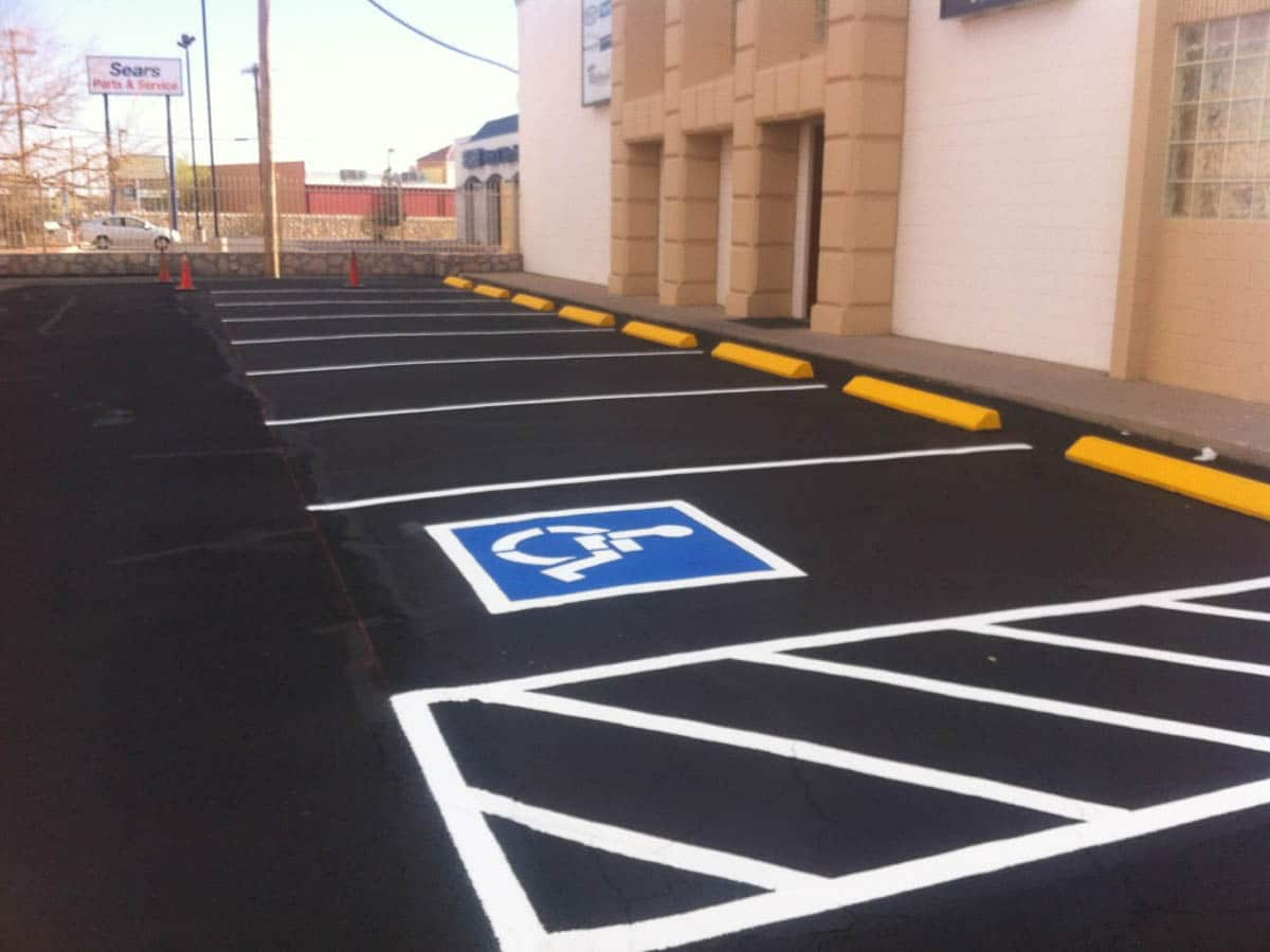 a brand new paving and striping job is complete in El Paso